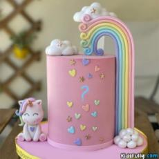 Cute Unicorn Cake With Initial Alphabet For Girls