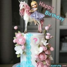 Happy Birthday Cute Doll Cake For Girls With Initial Alphabet