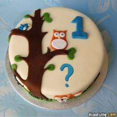 Owl Cake With Initial Alphabet